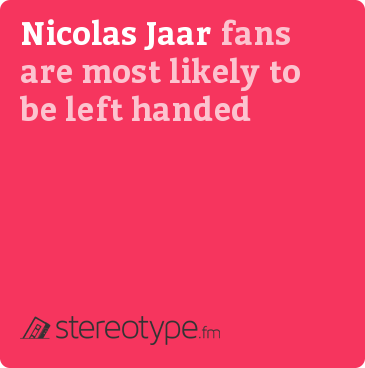 Nicolas Jaar fans are most likely to be left handed