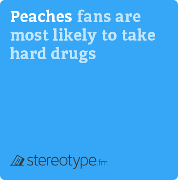 Peaches fans are most likely to take hard drugs