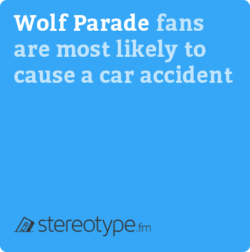 Wolf Parade fans are most likely to cause a car accident