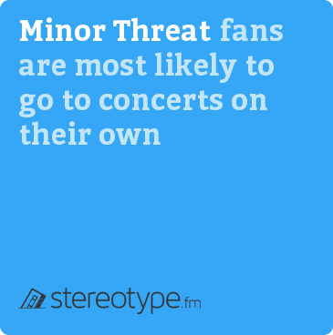 Minor Threat fans are most likely to go to concerts on their own