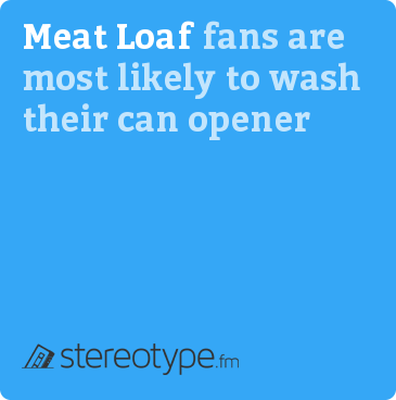 Meat Loaf fans are most likely to wash their can opener