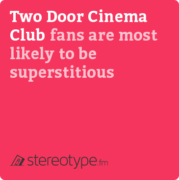 Two Door Cinema Club fans are most likely to be superstitious