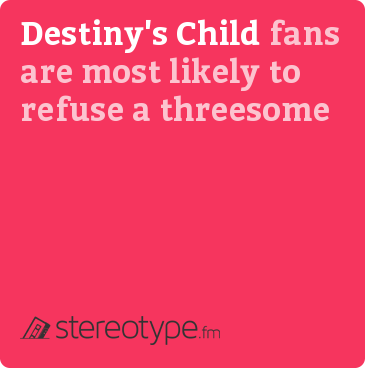 Destiny's Child fans are most likely to refuse a threesome