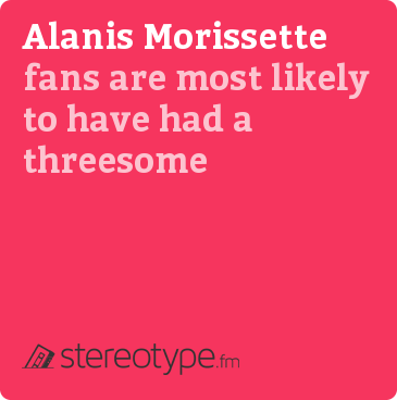 Alanis Morissette fans are most likely to have had a threesome