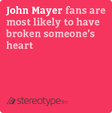 John Mayer fans are most likely to have broken someone&#x27;s heart