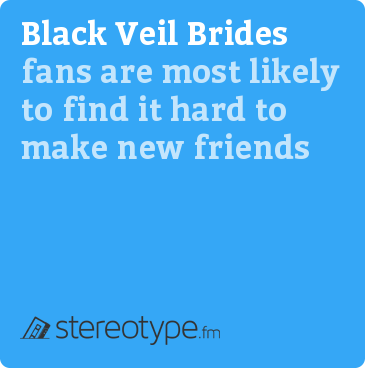 Black Veil Brides fans are most likely to find it hard to make new friends