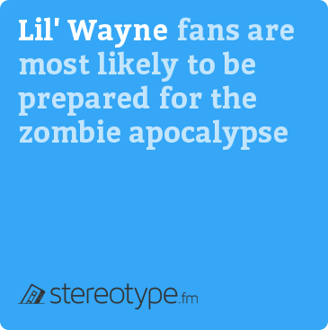 Lil' Wayne fans are most likely to be prepared for the zombie apocalypse