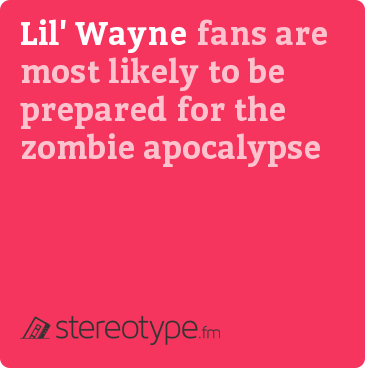 Lil&#x27; Wayne fans are most likely to be prepared for the zombie apocalypse