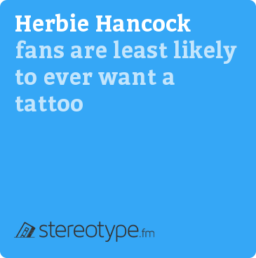Herbie Hancock fans are least likely to ever want a tattoo