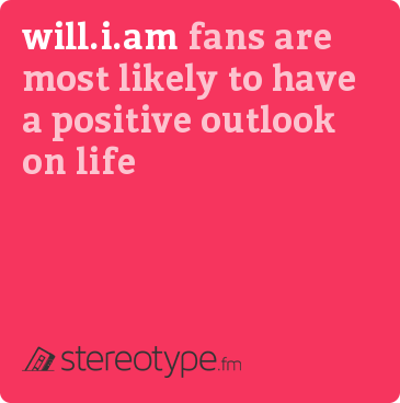 will.i.am fans are most likely to have a positive outlook on life