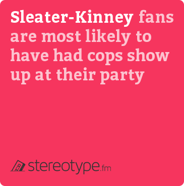 Sleater-Kinney fans are most likely to have had cops show up at their party