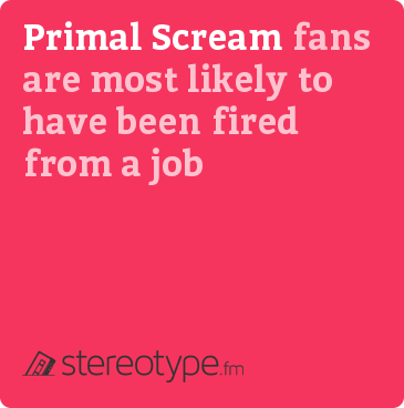 Primal Scream fans are most likely to have been fired from a job