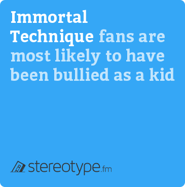 Immortal Technique fans are most likely to have been bullied as a kid