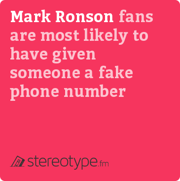 Mark Ronson fans are most likely to have given someone a fake phone number