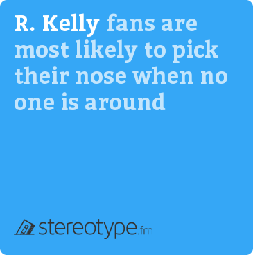 R. Kelly fans are most likely to pick their nose when no one is around