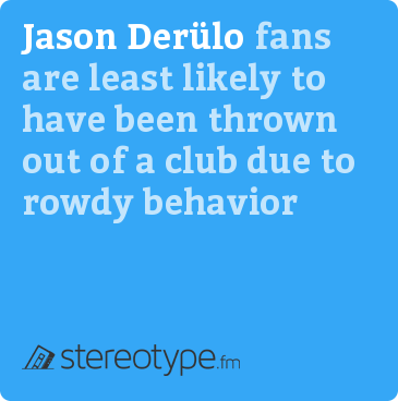 Jason Derulo fans are least likely to have been thrown out of a club due to rowdy behavior